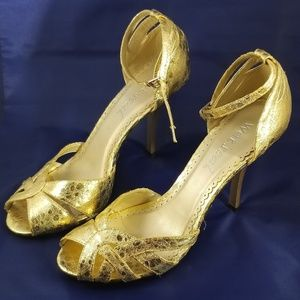 Gold Wet Seal Stiletto Heels